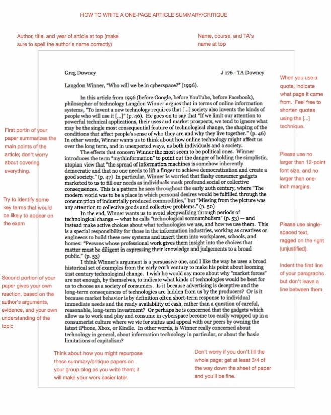 How to Write an Article Critique Example APA at KingEssays© - article summary template