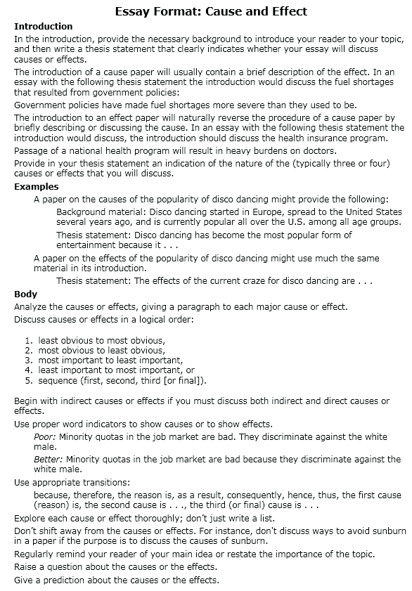 essay cause and effect example