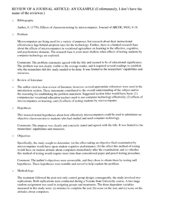 sample nursing journal article critique