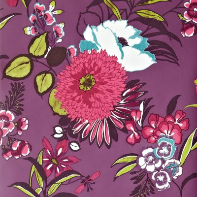 Colours Cocktail Plum Floral Wallpaper | Departments | DIY at B&Q
