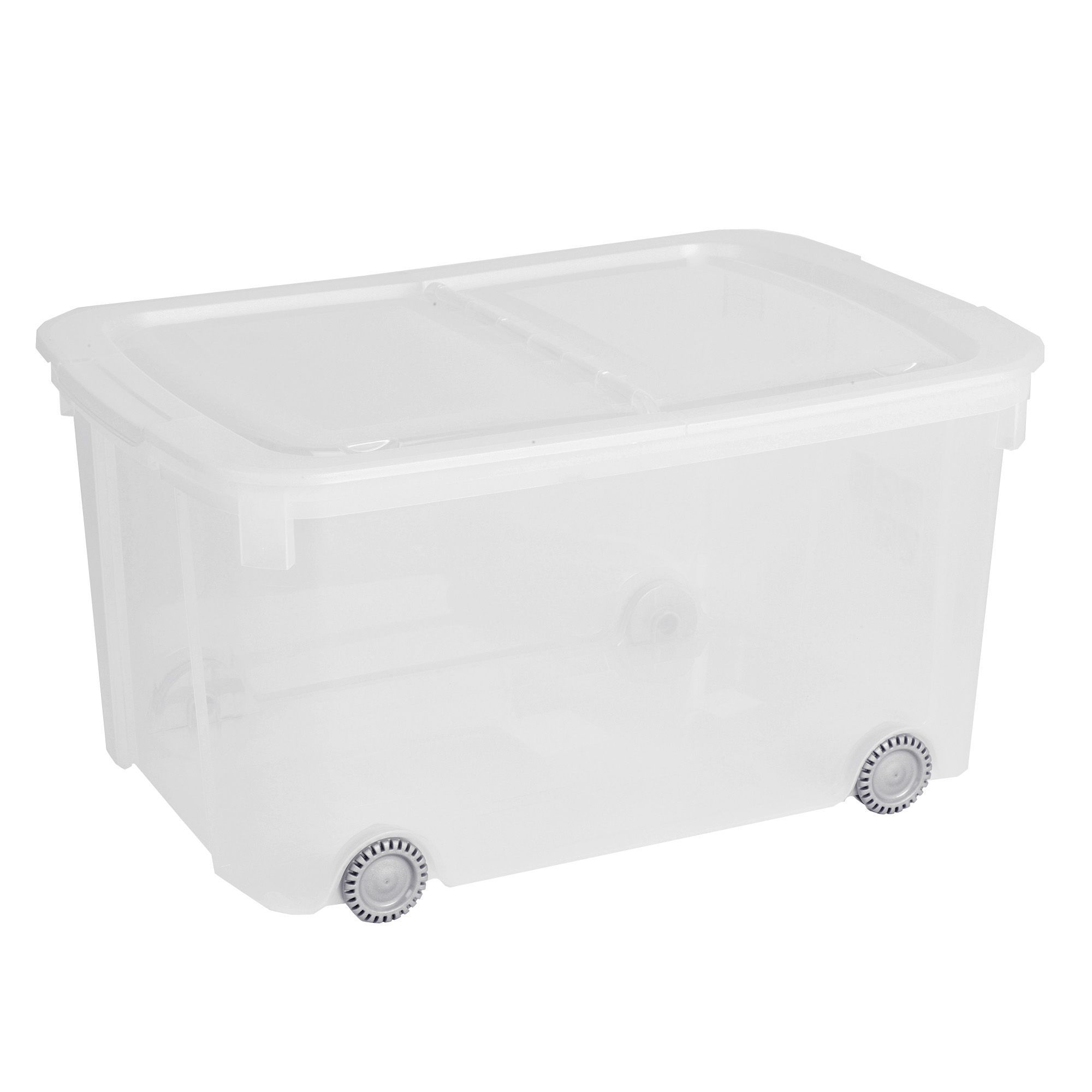 Curver Clear 51l Plastic Storage Box On Wheels