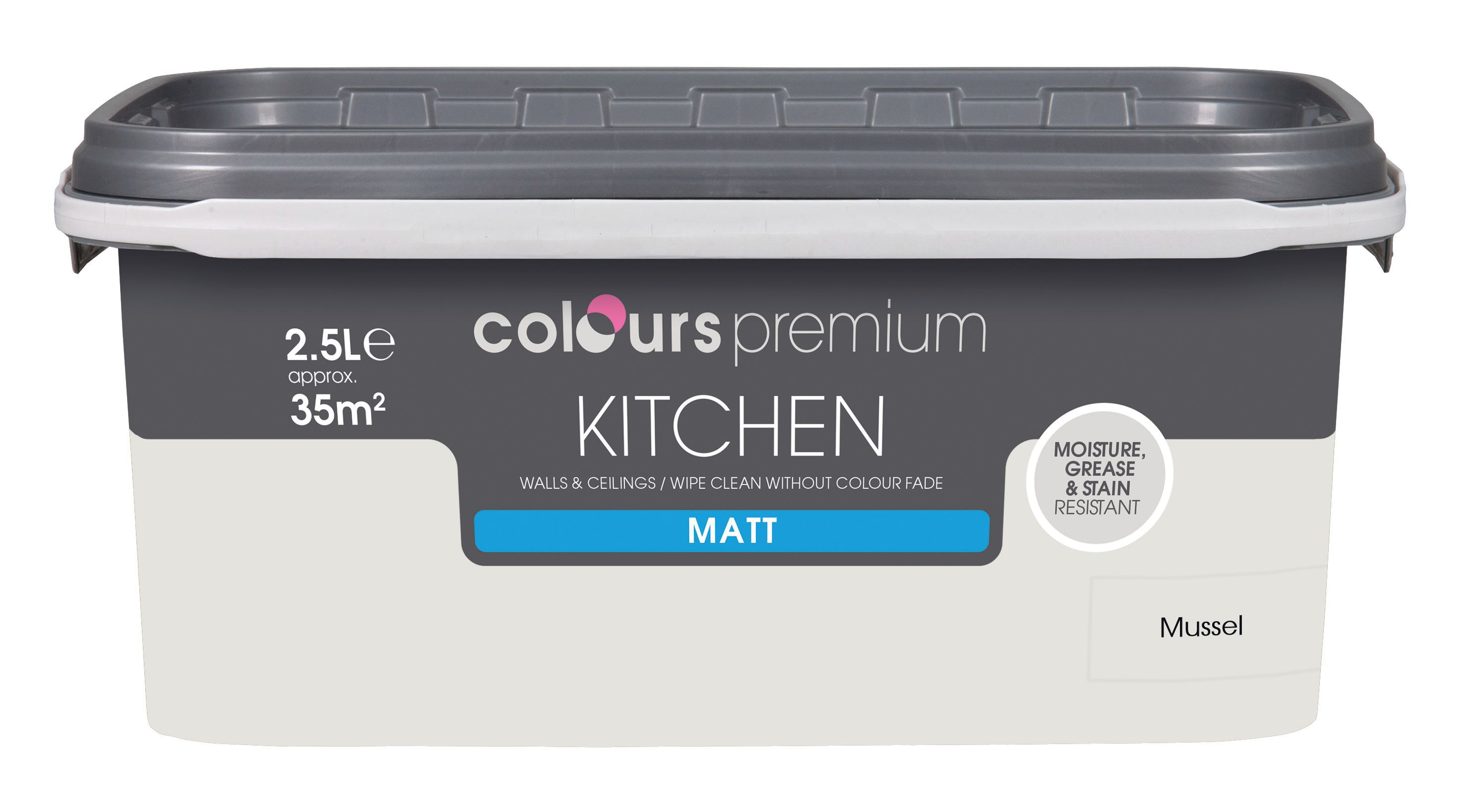 B&q Kitchen Colours Kitchen Mussel Matt Emulsion Paint 2 5l Departments