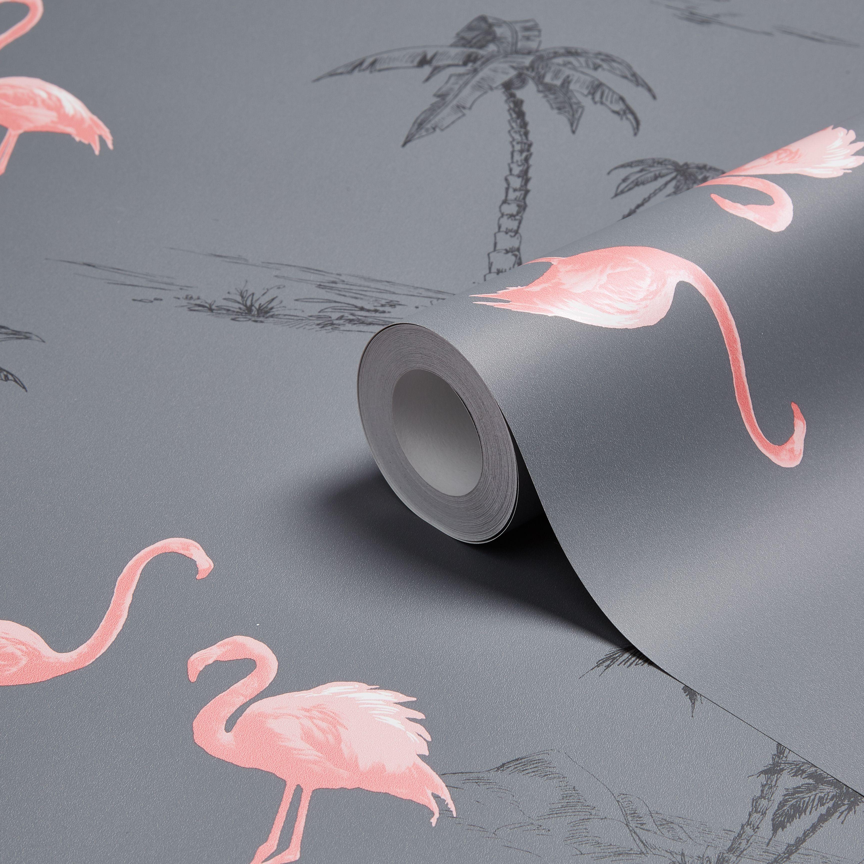 Black Trellis Wallpaper Colours Charcoal Amp Pink Flamingo Mica Wallpaper