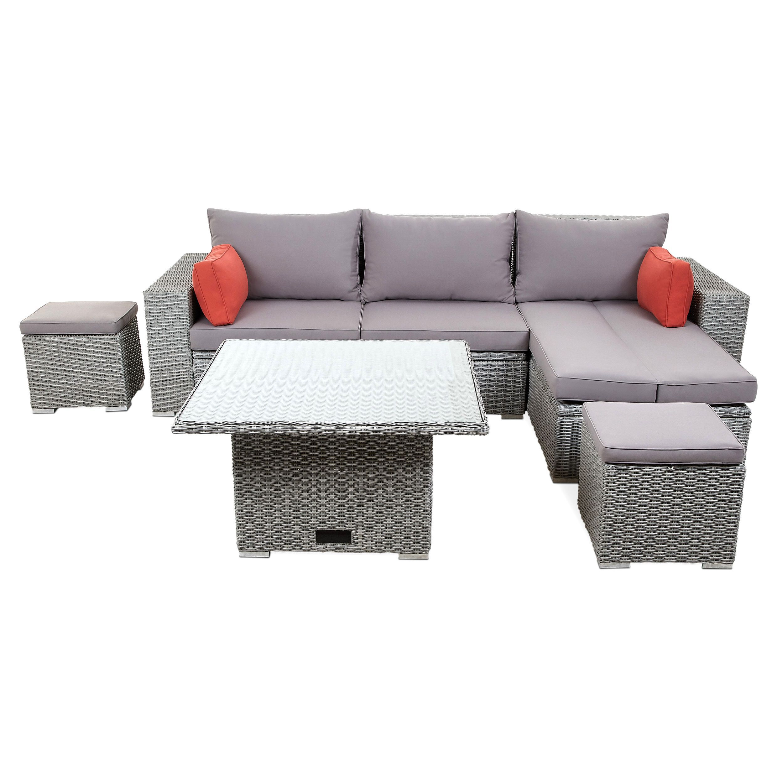 Rattan Effect Recliner Sofa Gabbs 4 Seater Sofa Set Departments Diy At B Andq