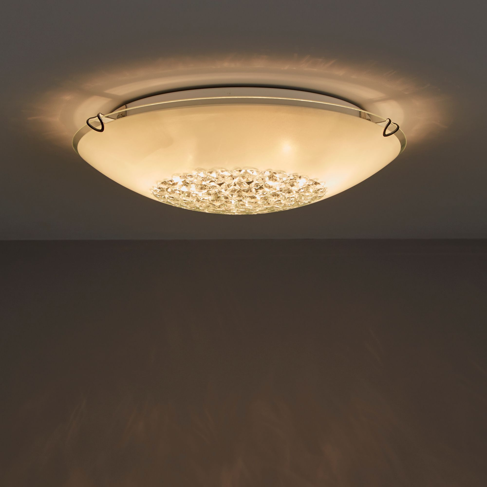 Glass Lamp Ceiling Gaia White 2 Lamp Ceiling Light Departments Diy At B Q