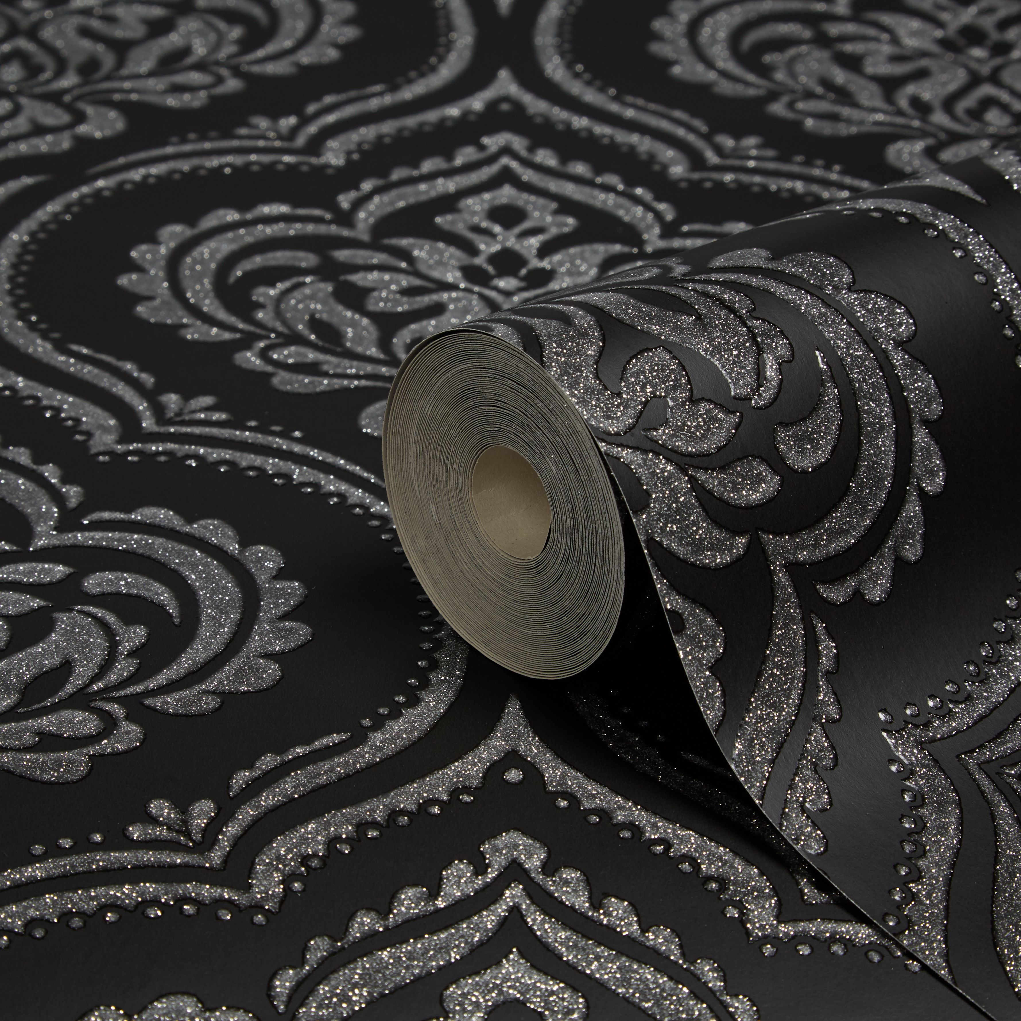 Black And Purple Wallpaper Fine D 233 Cor Ornamental Black Damask Glitter Effect