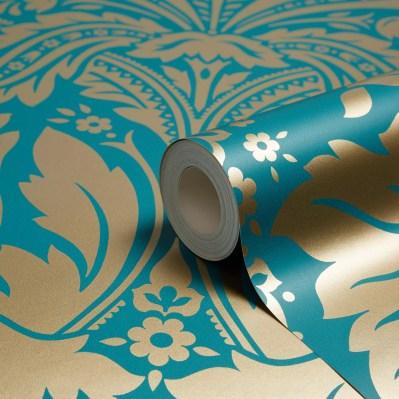 5011583012484 DESIRE WALLCOVERING TEAL/GOLD EFF | Departments | DIY at B&Q