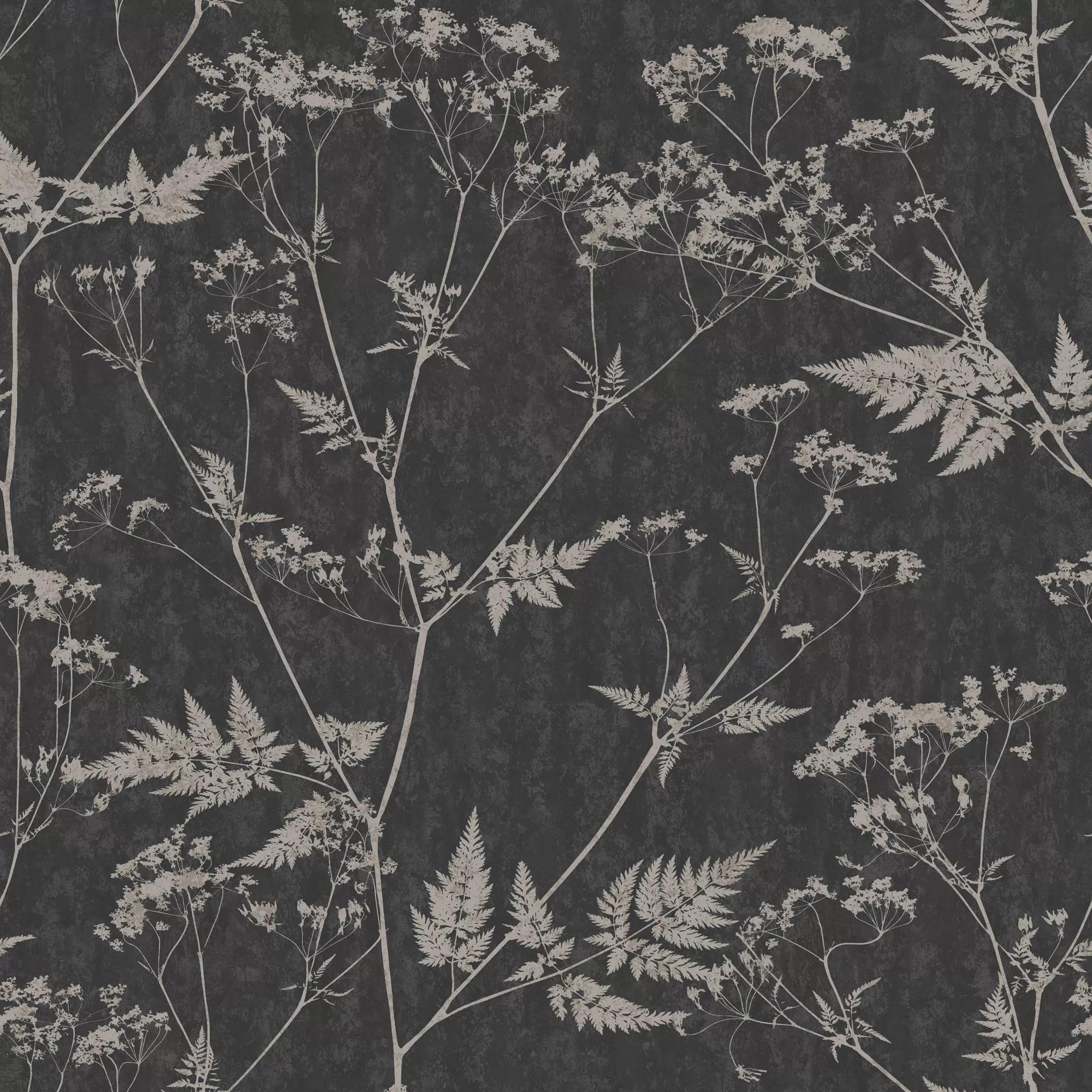 Vintage Black Wallpaper Graham Amp Brown Gilded Fern Black Amp Grey Leaf Metallic