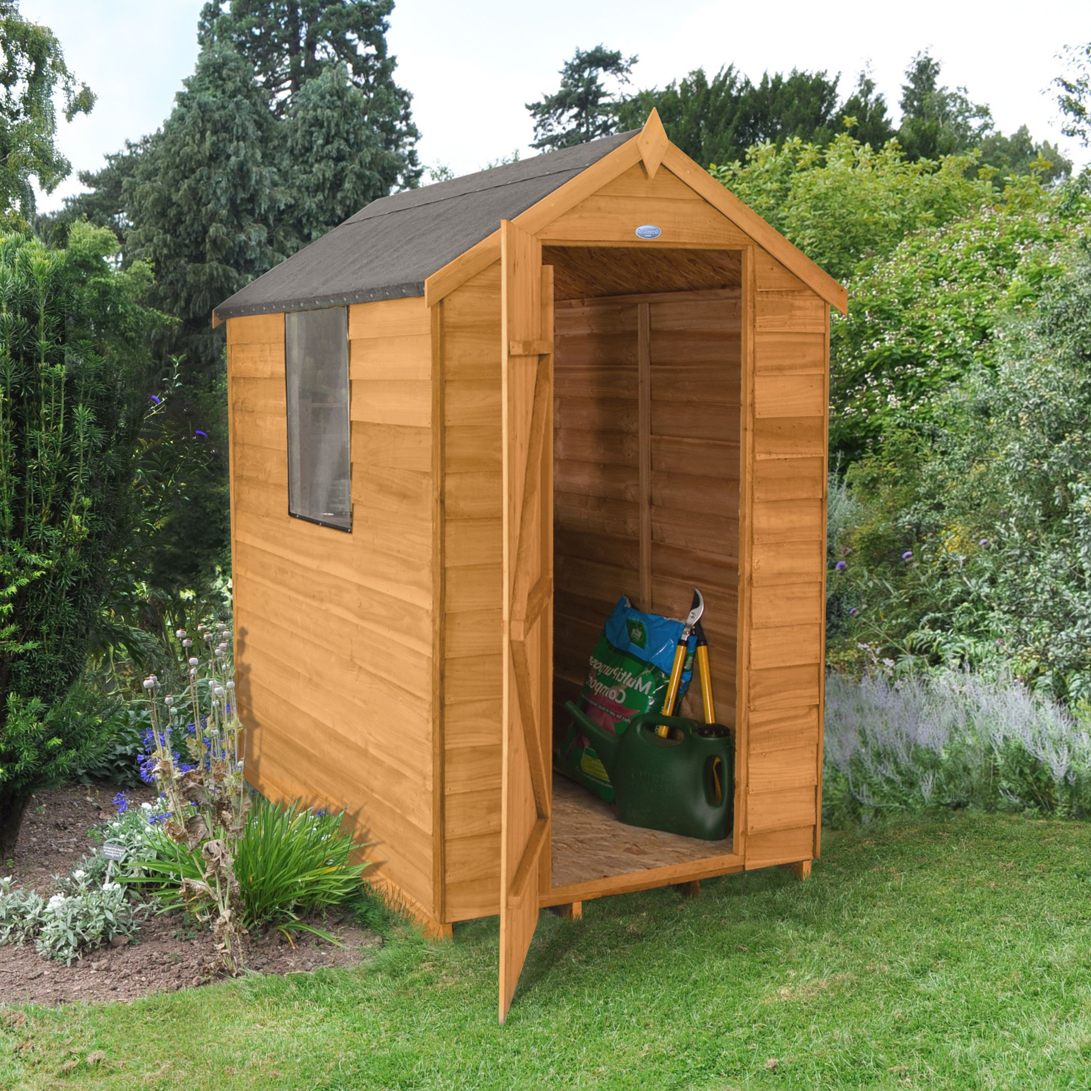 Design Schuur 6x4 Forest Apex Overlap Wooden Shed Departments Diy At B Andq
