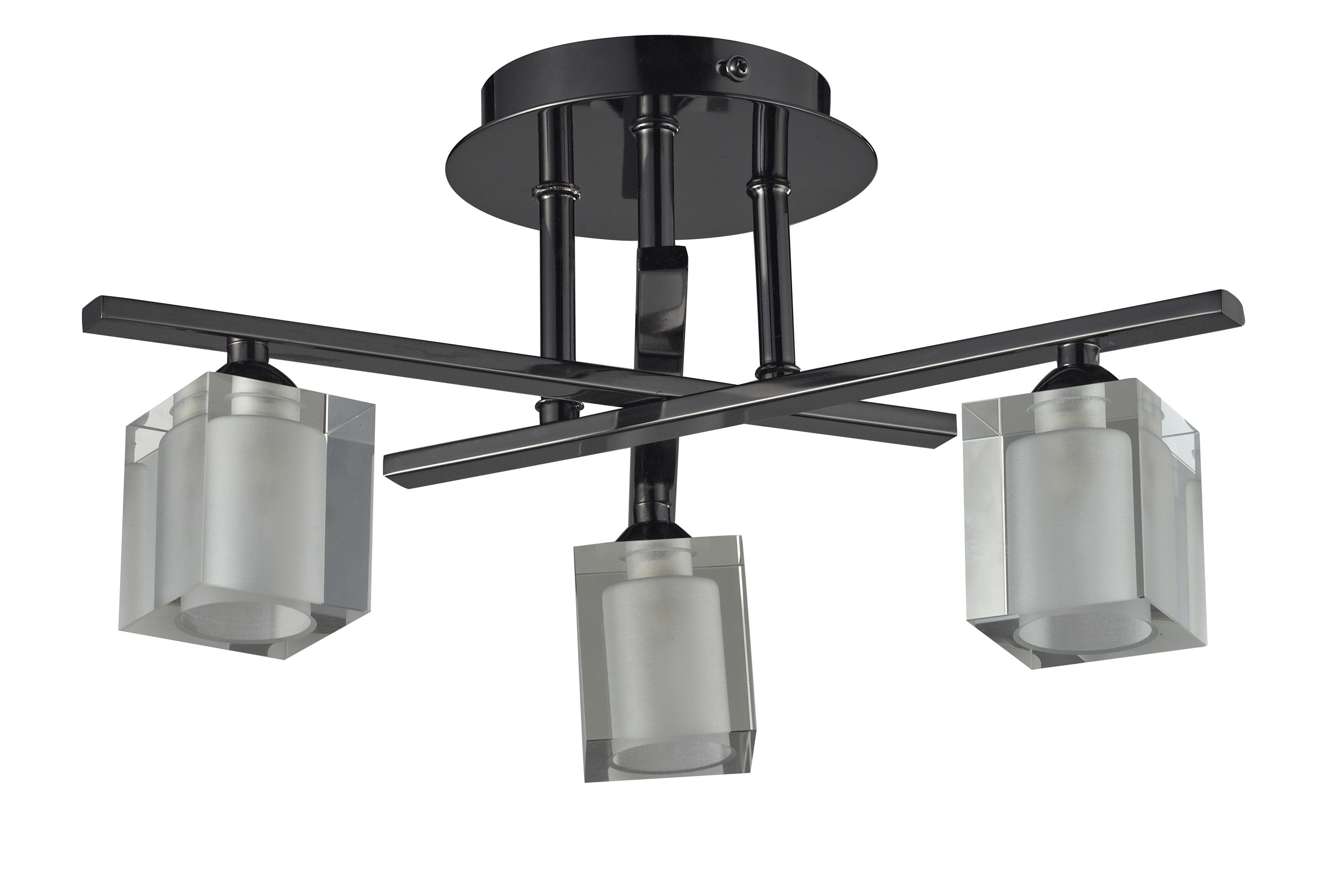 Glass Lamp Ceiling Narran Cubic Black Nickel Effect 3 Lamp Ceiling Light Departments Diy At B Q
