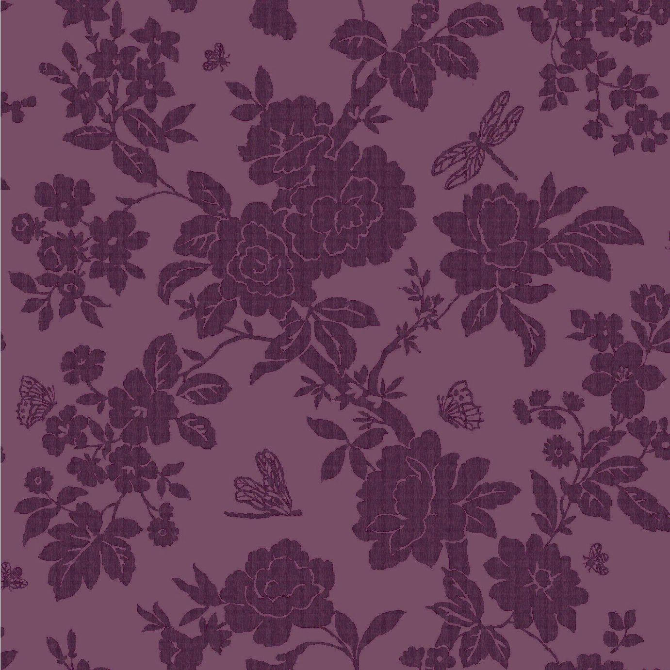 Black Trellis Wallpaper Nina Purple Floral Wallpaper Departments Diy At B Amp Q