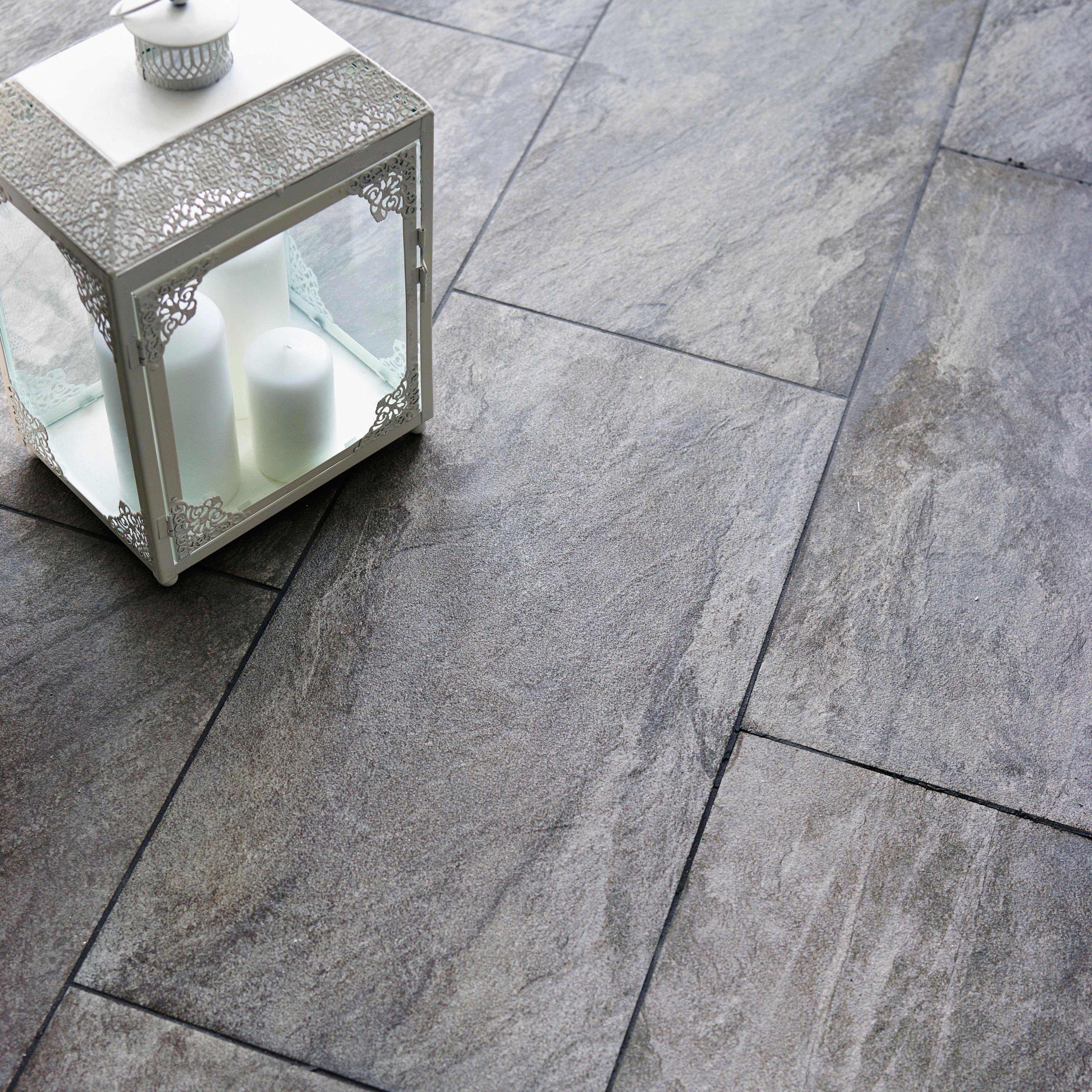 Indus Dark Grey Stone Effect Porcelain Wall Floor Tile