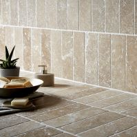 Tumbled Noce Stone Effect Travertine Wall Tile, Pack of 15 ...