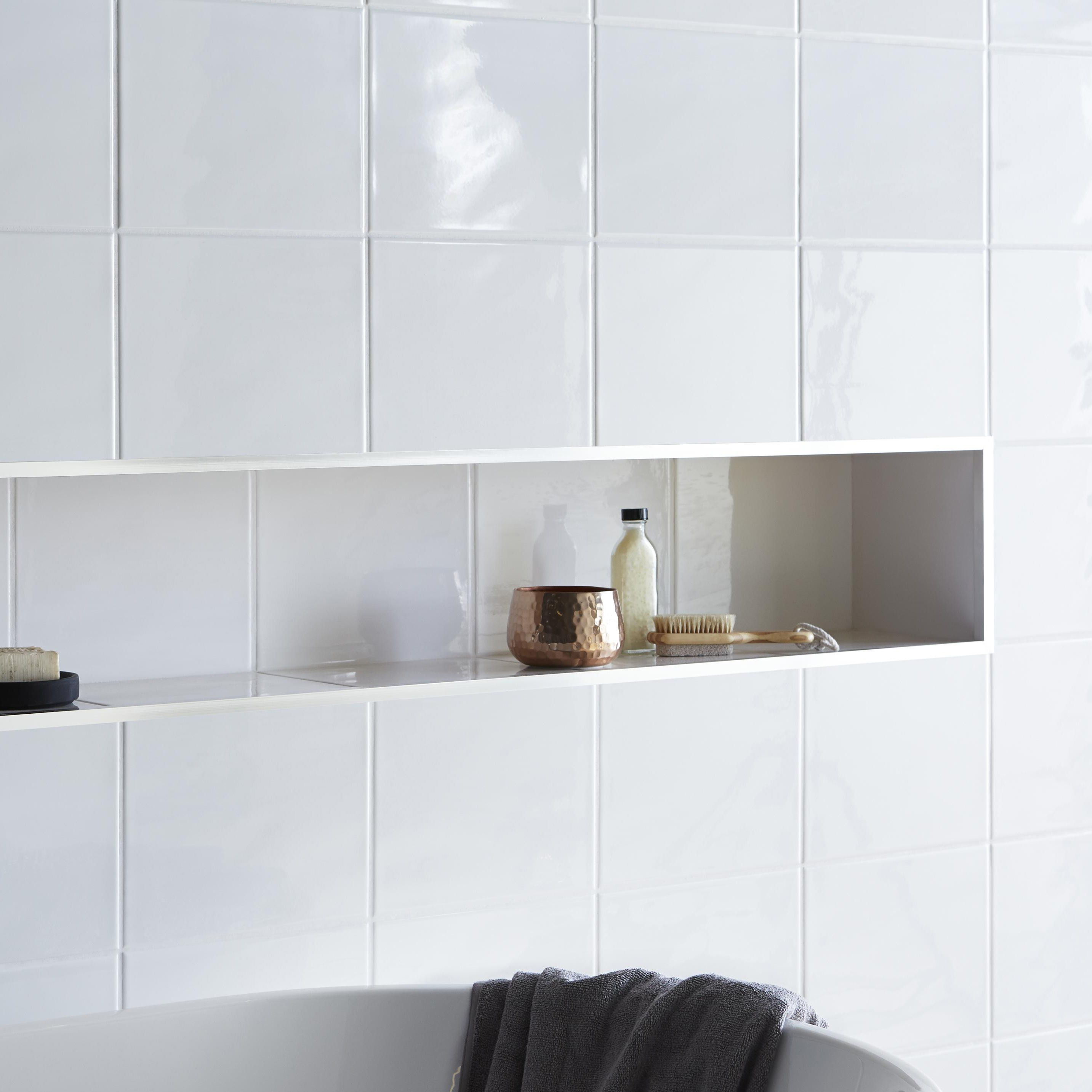 Holborn White Ceramic Wall Tile Pack Of 20 L 250mm W 200mm Departments Tradepoint
