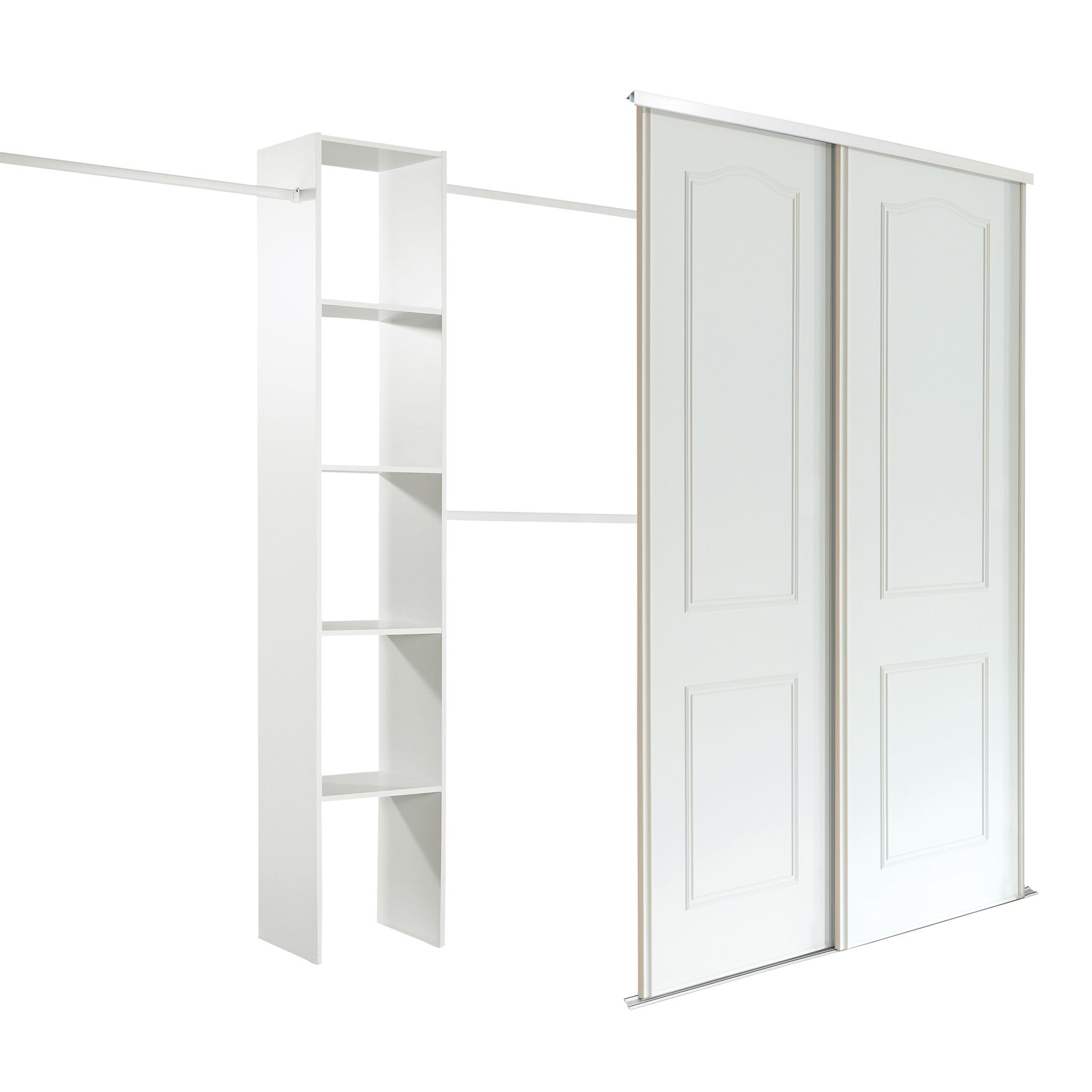 Wardrobe Kits Classic White Sliding Wardrobe Door Kit H 2220 Mm W 762