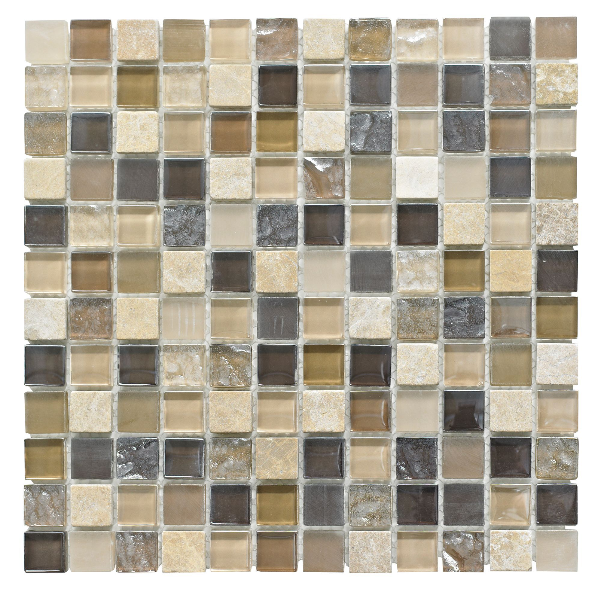 Beige Mosaic Glass Stone Wall Tile L 300mm W 300mm Departments Diy At B Q
