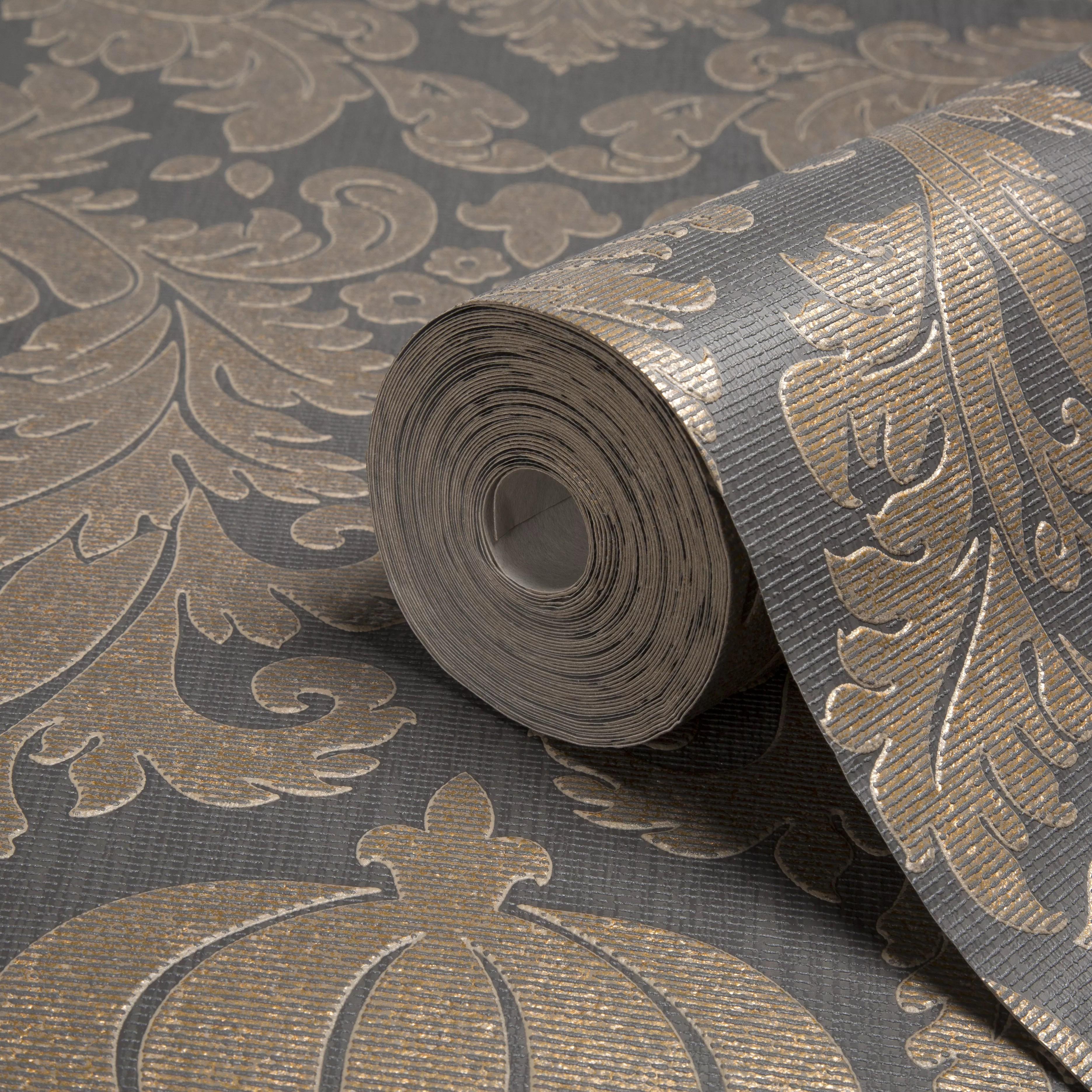 Black Trellis Wallpaper Colours Midas Black Amp Copper Damask Wallpaper