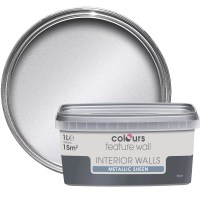 Colours Feature Wall Silver Effect Metallic Emulsion Paint ...