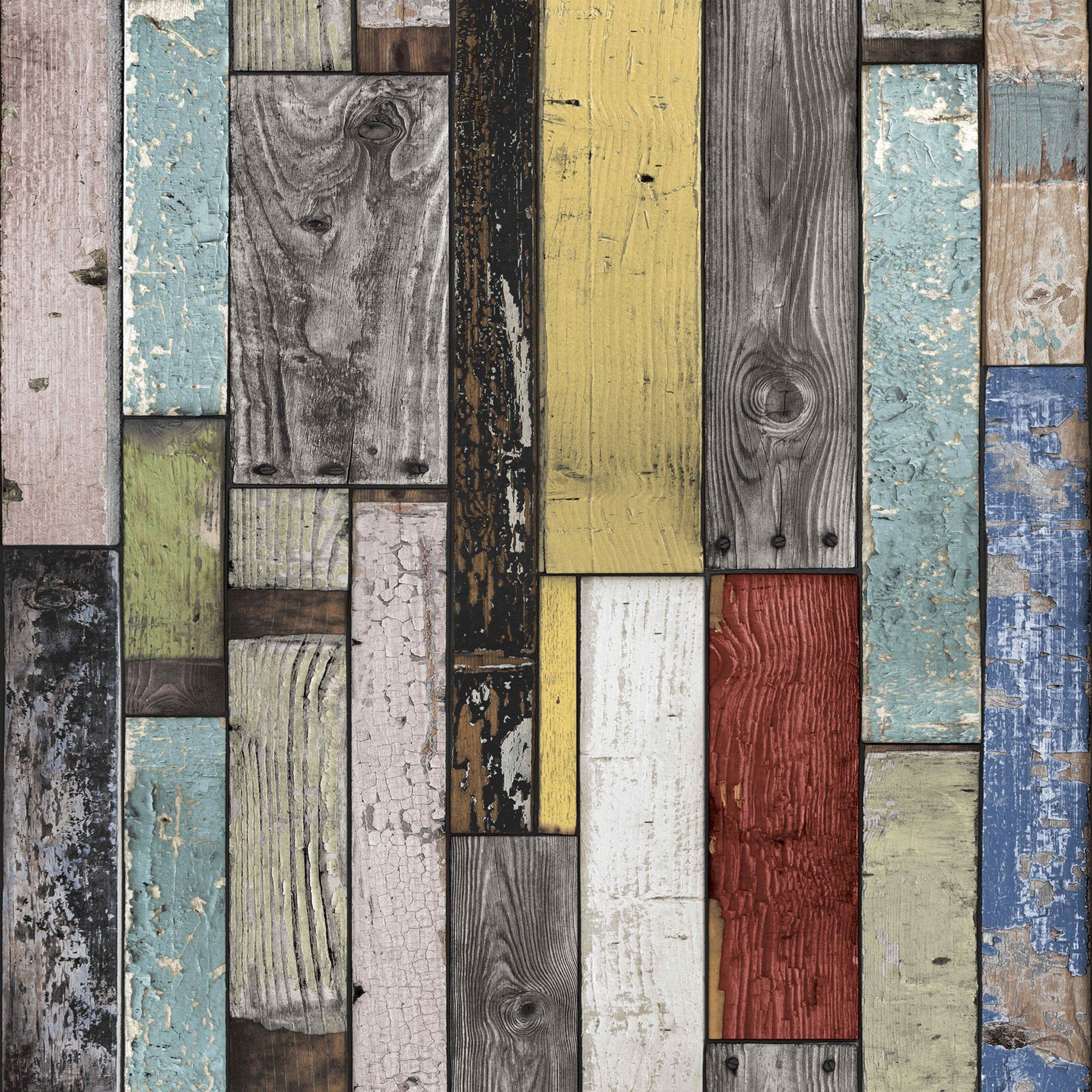 Classic 3d Desktop Workplace Wallpaper Painted Wooden Planks Wallpaper Departments Diy At B Amp Q