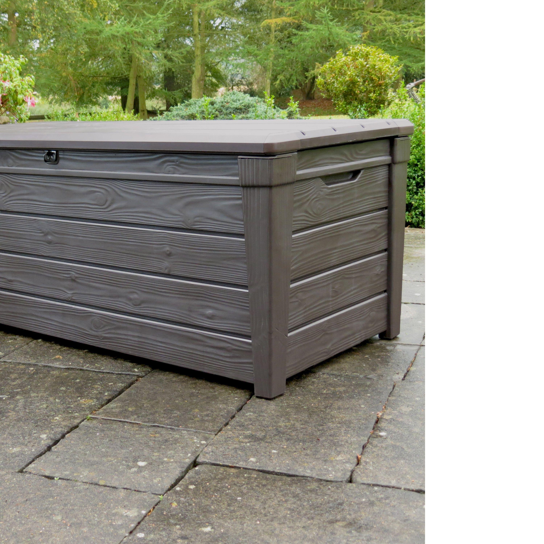Brightwood Wood Effect Plastic Garden Storage Box