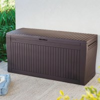 Comfy Wood Effect Plastic Patio Storage Box | Departments ...