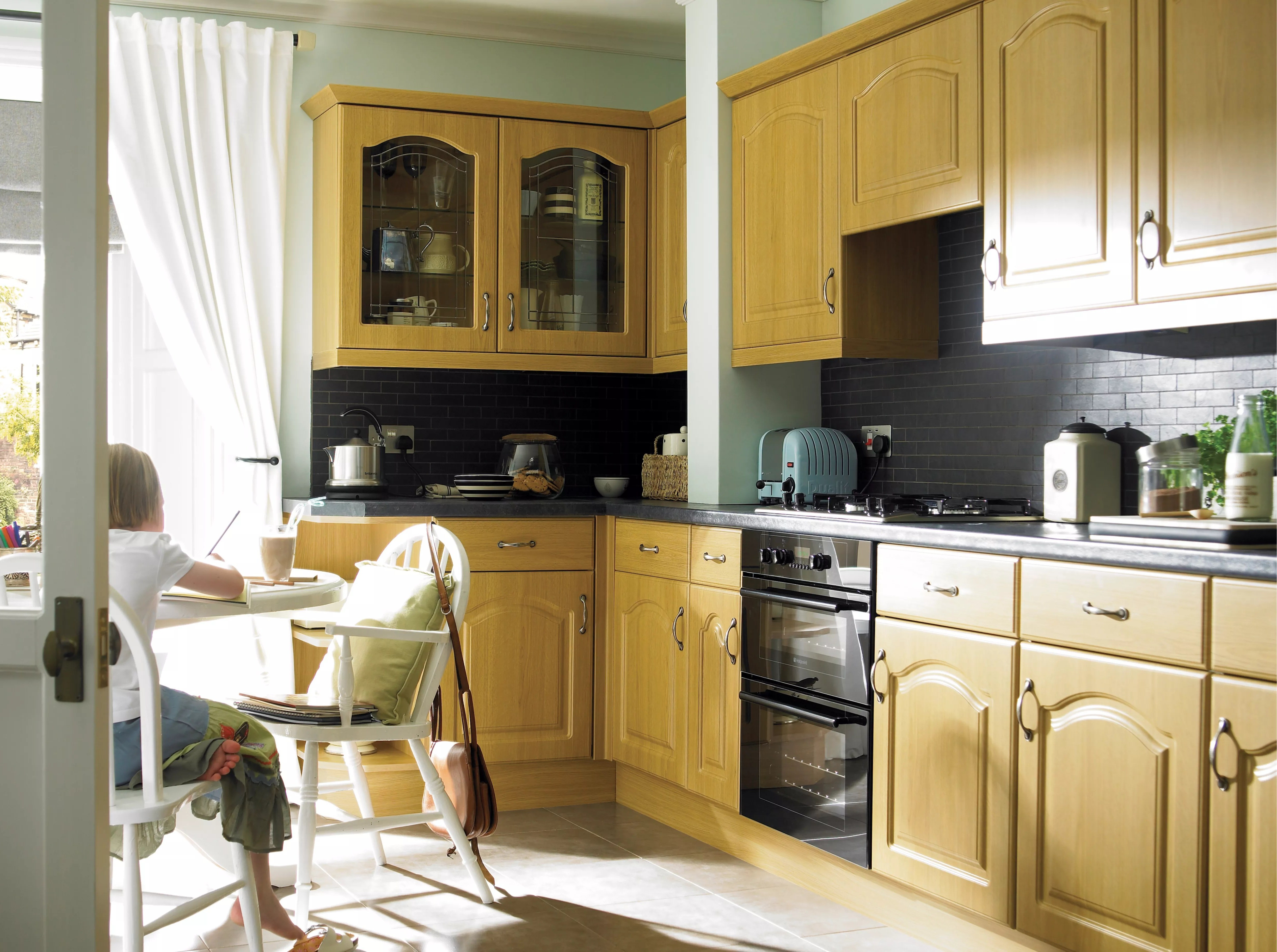 Galley Kitchen Ideas It Chilton Traditional Oak Effect | Diy At B&q