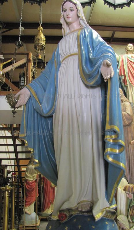 Painted Floors Mary---our-lady-of-grace - Vintage Plaster Statue Of Our