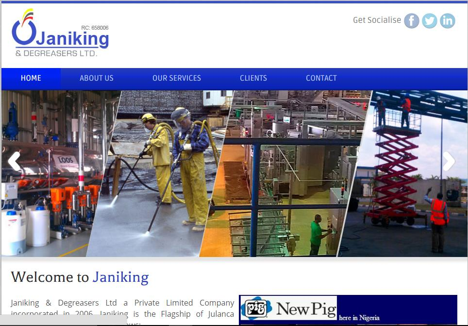 Janiking & Degreasers Limited is a Private Limited Company incorporated in 2006 that provides Industrial & Corporate Cleaning Services, Facility Management Services, Hospitality Support Services, Training & Consultancy Service, Fumigation & Pest Control Services. Visit Website