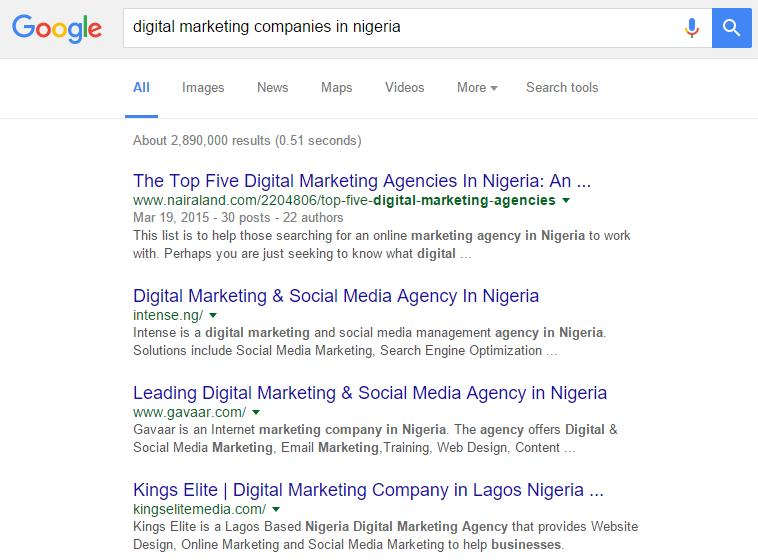 Digital marketing Companies in Nigeria Google Ranking