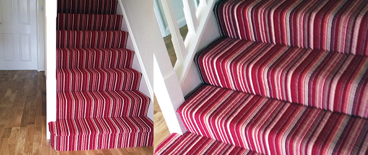 Loom Sofa Red Striped Carpet With Oak Floor