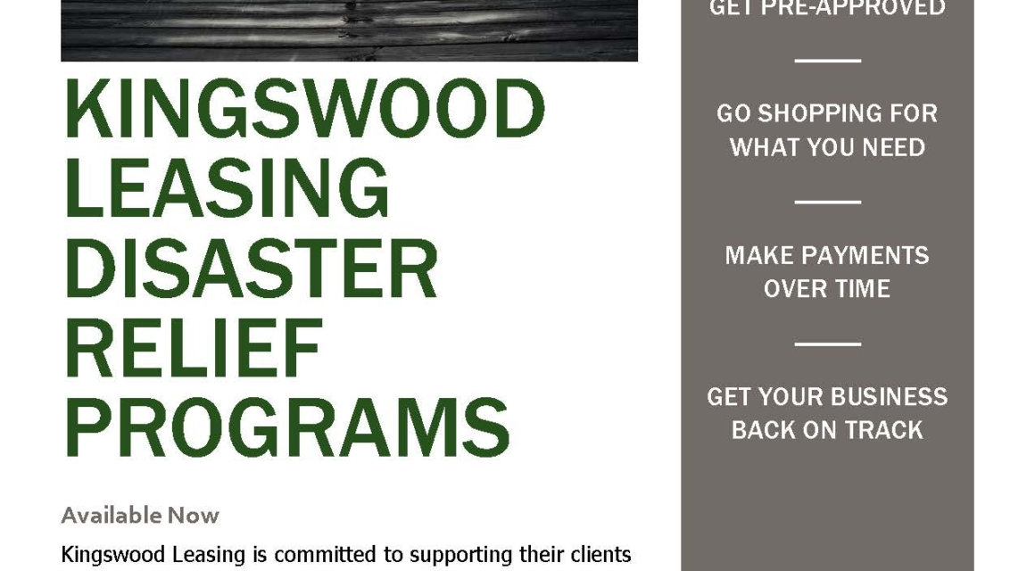 Kingswood Leasing  2013 Disaster Relief Flyer - disaster relief flyer