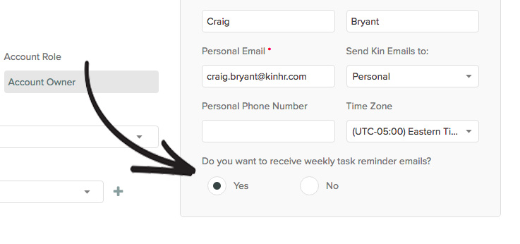 New to Kin Task Reminder Emails - Kin