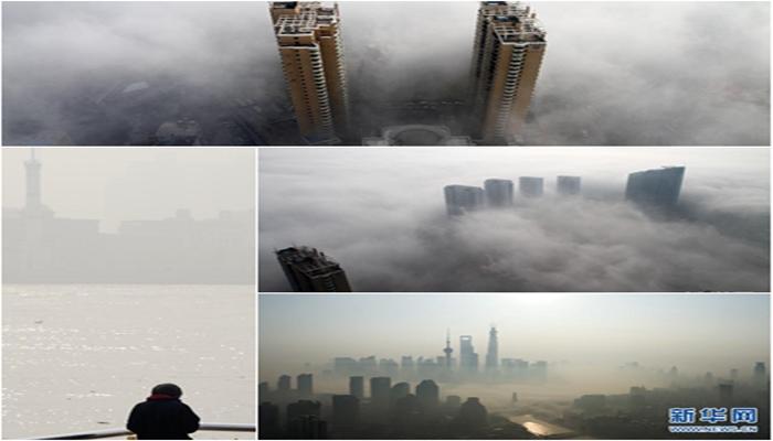 中国 光化学スモッグ 上空写真 街並み