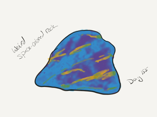 "Watercolor of a lump of stone made of bright blues and purples with gold streaks throughout it. Captioned ""weird space-colored rock""."