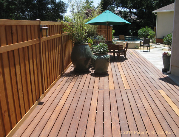 Contemporary Ipe Patio Extension Deck With Fencing And