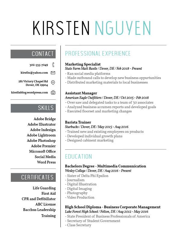 Resume - Kirsten Nguyen Portfolio