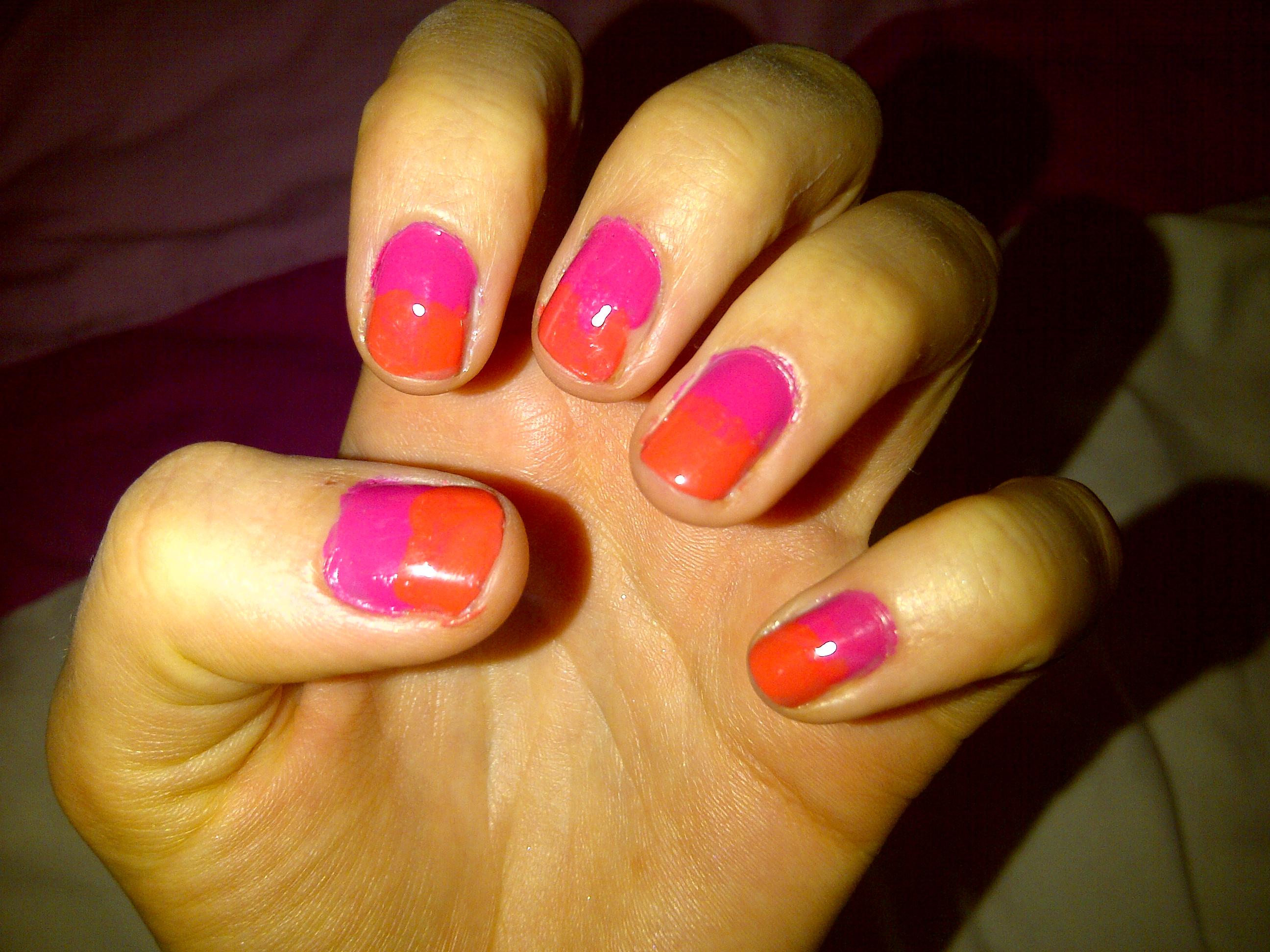 Pink Two Tone Nail Polish
