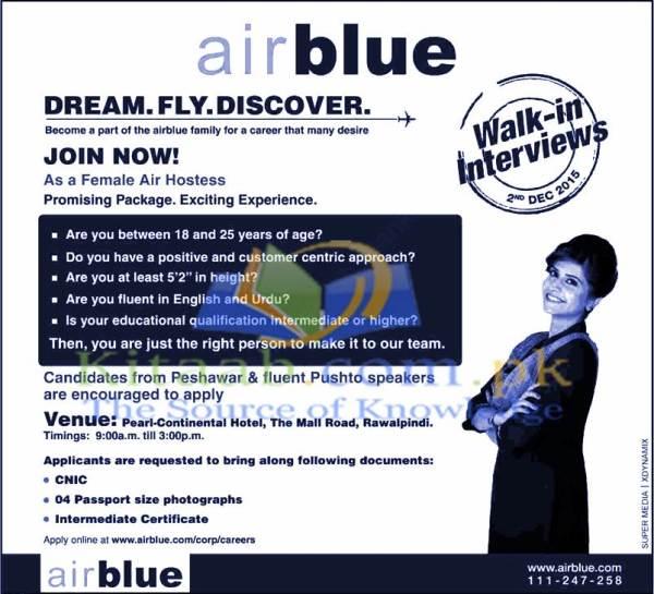Air Blue Air Hostess Jobs 2015 Female Cabin Crew Walk in Interviews Schedule