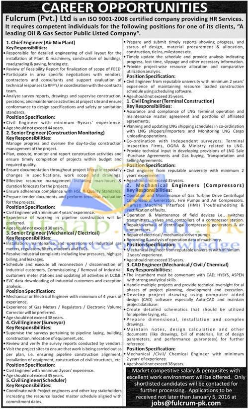 Fulcrum Pvt Limited Pakistan Jobs December 2015 Dates Eligibility Criteria Application Form