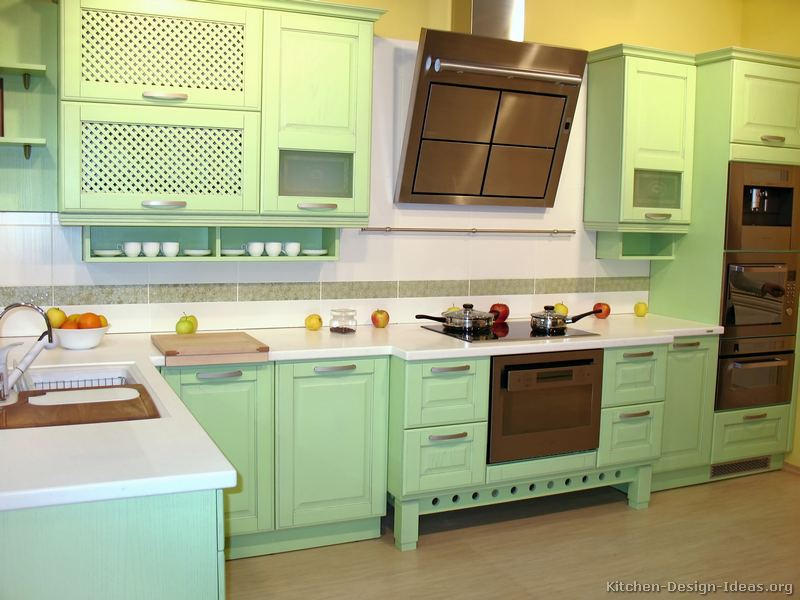 Two Tone Kitchen Cabinets Pictures Of Kitchens - Modern - Green Kitchen Cabinets