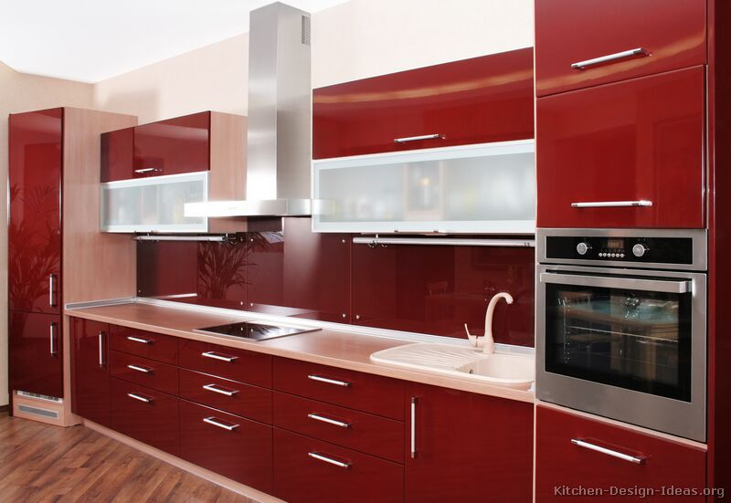 Revetement Adhesif Pour Meuble Ikea Pictures Of Kitchens - Modern - Red Kitchen Cabinets