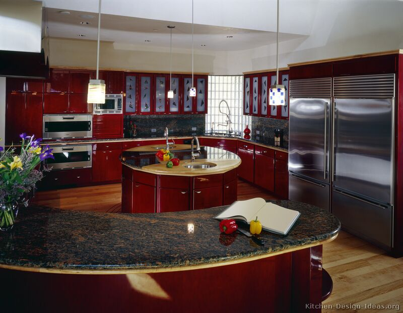 Rounded Kitchen Island Pictures Of Kitchens - Modern - Red Kitchen Cabinets