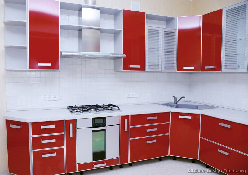 Modular Kitchen Design Red And White Pictures Of Kitchens - Modern - Red Kitchen Cabinets (page 2)