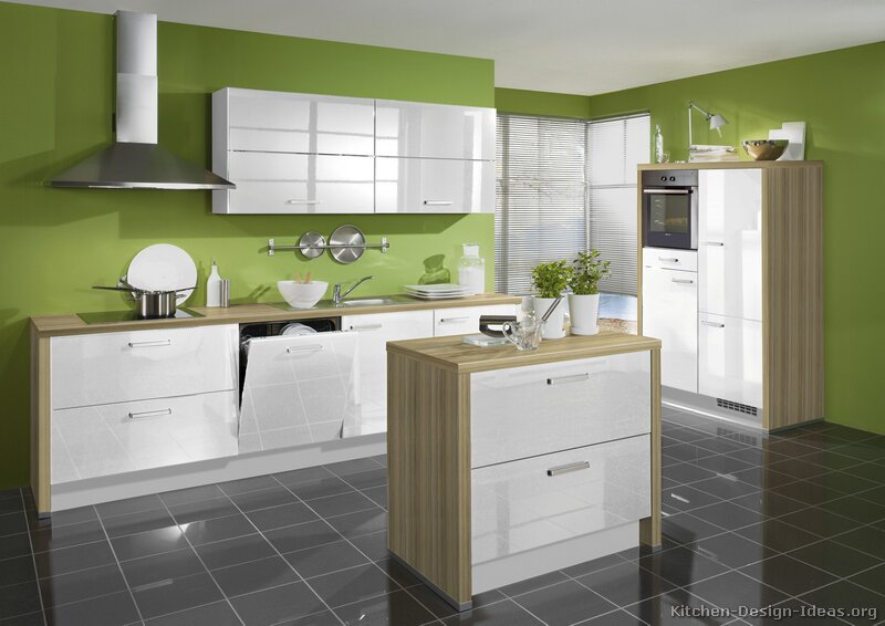White Green Kitchen Ideas Pictures Of Kitchens - Modern - White Kitchen Cabinets
