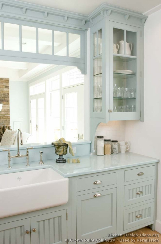French Country Kitchen Backsplash Pictures Of Kitchens - Traditional - Blue Kitchen Cabinets