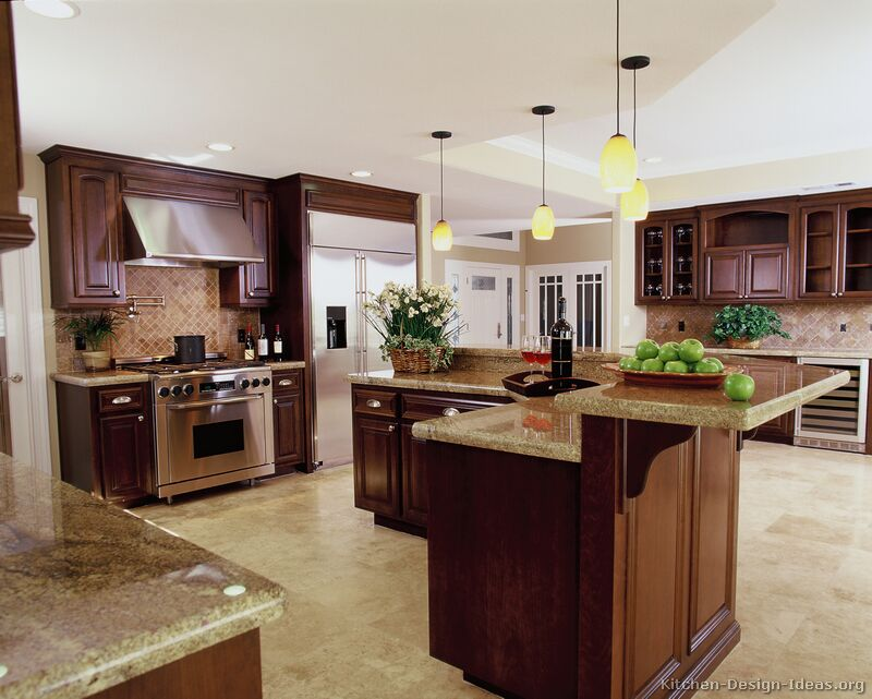 pictures kitchens traditional dark wood kitchens cherry color small eat kitchen design photos colored appliances
