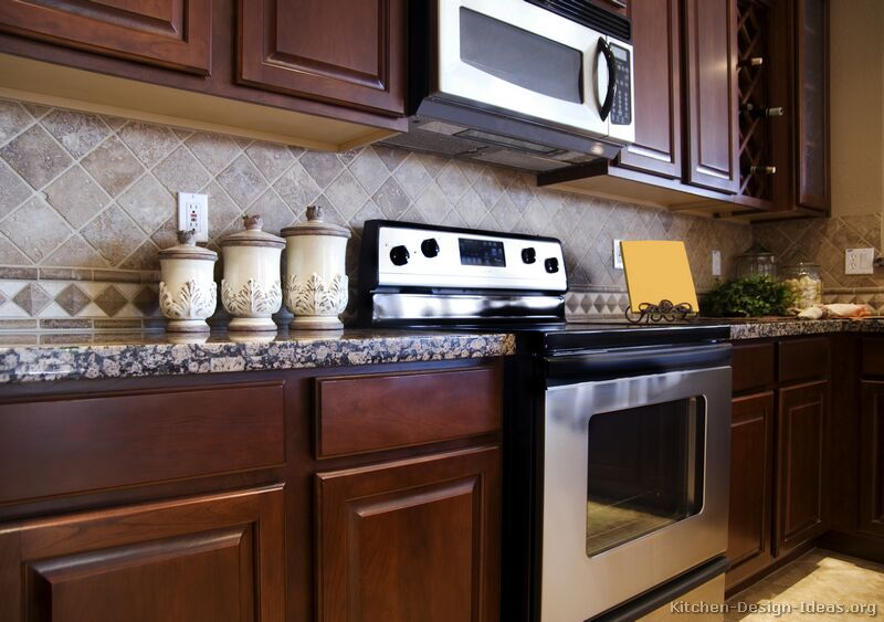 pictures kitchens traditional dark wood kitchens cherry wood backsplash