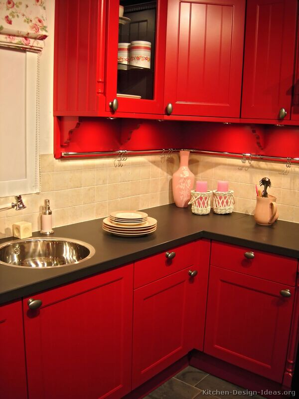 Red And Black Kitchen Vintage Farmhouse: Color In The Kitchen