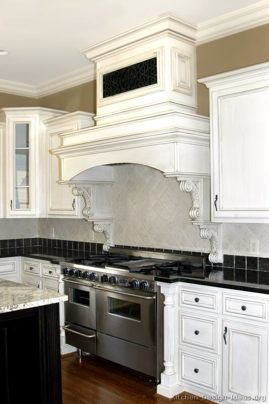 Two Tone Kitchen Cabinets Pictures Of Kitchens - Traditional - Off-white Antique