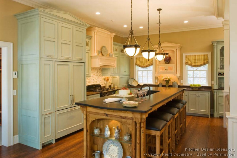 White Green Kitchen Ideas Pictures Of Kitchens - Traditional - Green Kitchen Cabinets